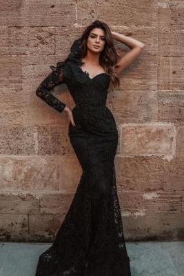 Elegante Abendkleider Lang Schwarz | Abiballkleider mit Spitze Ärmel_1