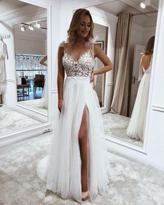 Schlichte Brautkleider Boho   Hochzeitskleider mit Spitze_2