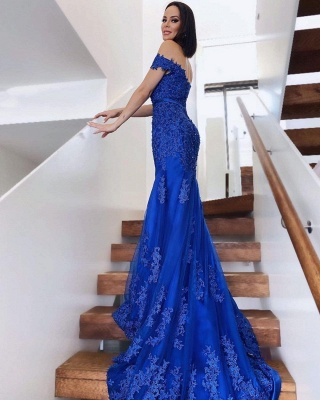 König Blau Abendkleider Lang Günstig   Abiballkleider mit Spitze_2