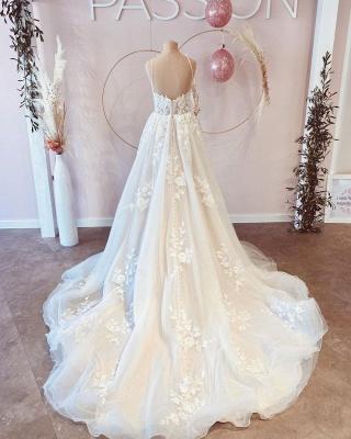 Schöne Hochzeitskleider A Linie Spitze | Brautkleider Günstig_4