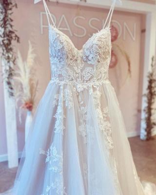 Schöne Hochzeitskleider A Linie Spitze | Brautkleider Günstig_3