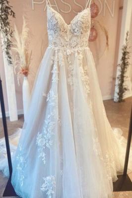 Schöne Hochzeitskleider A Linie Spitze | Brautkleider Günstig_2