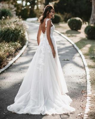 Boho Hochzeitskleider A Linie Spitze   Brautkleider Günstig Online_2