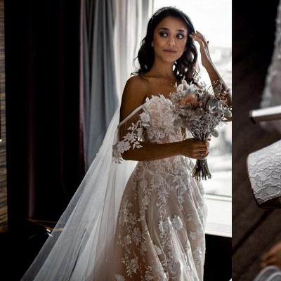 Wunderschöne Hochzeitskleider A Linie Spitze | Brautkleider Günstig Online_3