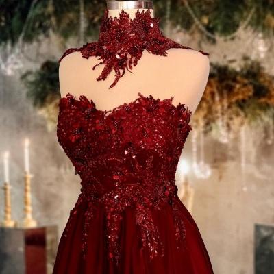Rote Abendkleider Lang Glitzer | Abiballkleider Online Kaufen_2