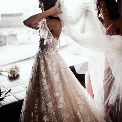Wunderschöne Hochzeitskleider A Linie Spitze | Brautkleider Günstig Online_4