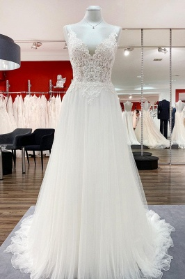 Designer Hochzeitskleider A Linie Spitze | Schlichtes Hochzeitskleid