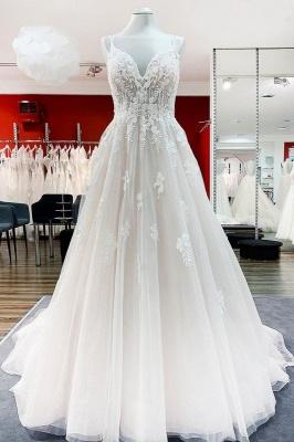 Fashion Hochzeitskleider A Linie Spitze | Schlichtes Brautkleid