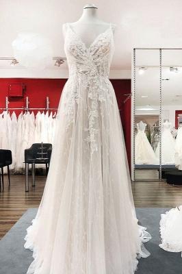 Schlichte Hochzeitskleider A Linie | Boho Brautkleider mit Spitze