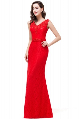 Rotes Abendkleid Lang V Ausschnitt | Schlichtes Abibalkleid_6