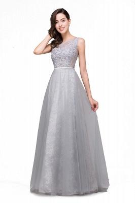 Silber Abendkleider Lang Günstig   Abiballkleider mit Spitze_4