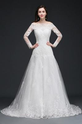 Elegante Hochzeitskleider mit Ärmel   Brautkleid A Linie_1