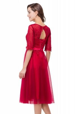 Rote Cocktailkleider Kurz   Abendkleider mit Spitzen Ärmel_7