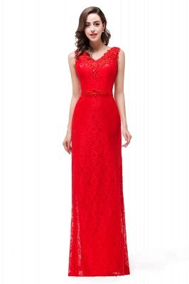Rotes Abendkleid Lang V Ausschnitt | Schlichtes Abibalkleid_5
