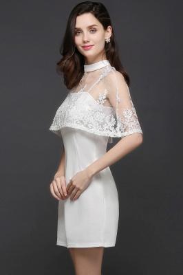 Weiße Cocktailkleider Günstig | Abendkleider Kurz mit Spitze_7