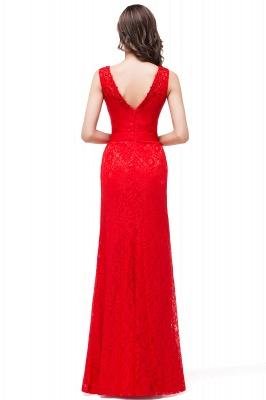 Rotes Abendkleid Lang V Ausschnitt | Schlichtes Abibalkleid_3