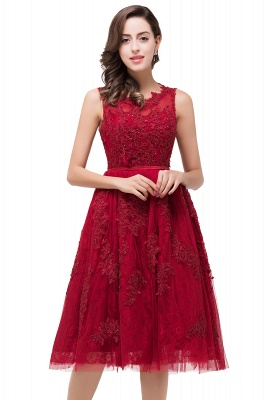 Rotes Cocktailkleider Kurz | Abendkleider mit Spitze_5