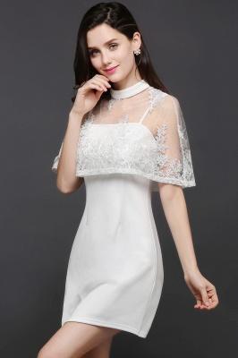 Weiße Cocktailkleider Günstig | Abendkleider Kurz mit Spitze_5