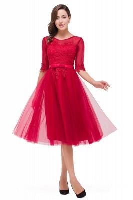 Rote Cocktailkleider Kurz   Abendkleider mit Spitzen Ärmel_1