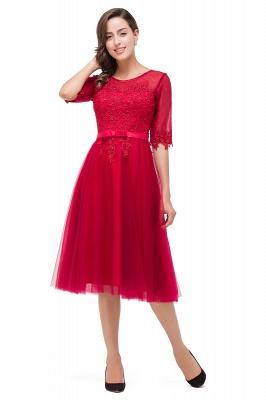 Rote Cocktailkleider Kurz   Abendkleider mit Spitzen Ärmel_6