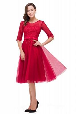 Rote Cocktailkleider Kurz   Abendkleider mit Spitzen Ärmel_8
