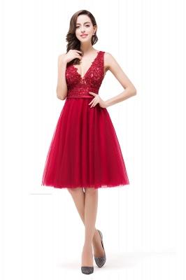 Rote Abendkleider V Ausschnitt | Cocktailkleider Kurz_7