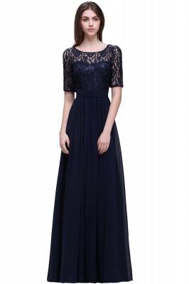 Blaue Abendkleider Lang Günstig | Abiballkleider mit Ärmel_9