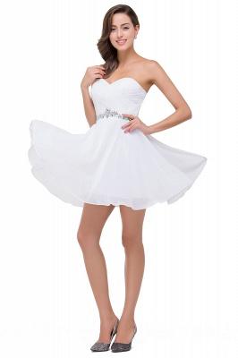 Weiße Cocktailkleider Kurz   Chiffon Kleider Abiballkleider_6