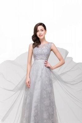 Silber Abendkleider Lang Günstig   Abiballkleider mit Spitze_6