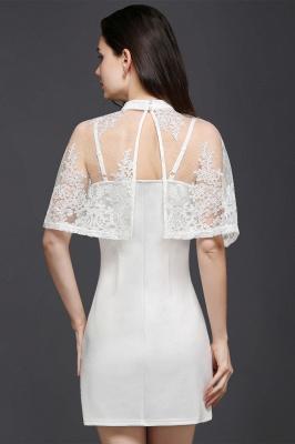 Weiße Cocktailkleider Günstig | Abendkleider Kurz mit Spitze_6