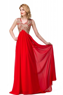 Abendkleid Lang V Ausschnitt | Rote Abiballkleider Günstig_8