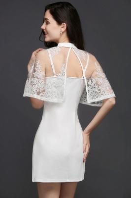 Weiße Cocktailkleider Günstig | Abendkleider Kurz mit Spitze_3