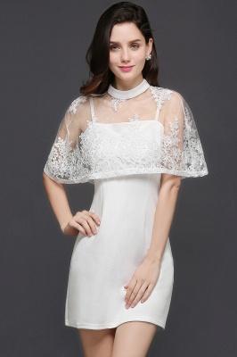 Weiße Cocktailkleider Günstig | Abendkleider Kurz mit Spitze_2