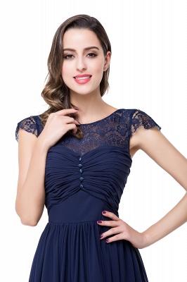 Schlichtes Abendkleid Navy Blau | Abiballkleider Lang Günstig_19