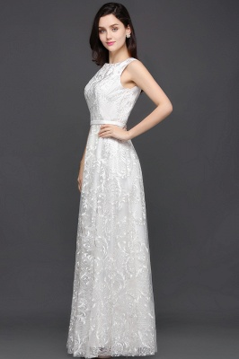 Abendkleider mit Spitze   Abiballkleider Lang Weiß_4