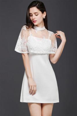 Weiße Cocktailkleider Günstig | Abendkleider Kurz mit Spitze_4