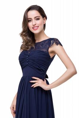 Schlichtes Abendkleid Navy Blau | Abiballkleider Lang Günstig_14