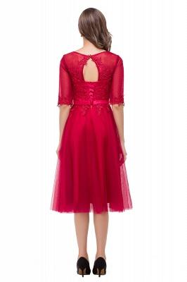 Rote Cocktailkleider Kurz   Abendkleider mit Spitzen Ärmel_3
