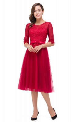 Rote Cocktailkleider Kurz   Abendkleider mit Spitzen Ärmel_5