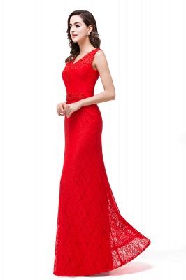 Rotes Abendkleid Lang V Ausschnitt | Schlichtes Abibalkleid_7