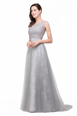 Silber Abendkleider Lang Günstig   Abiballkleider mit Spitze_5