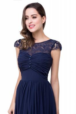 Schlichtes Abendkleid Navy Blau | Abiballkleider Lang Günstig_11