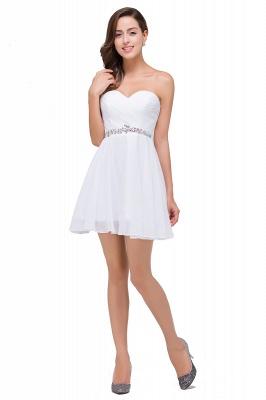 Weiße Cocktailkleider Kurz   Chiffon Kleider Abiballkleider_4