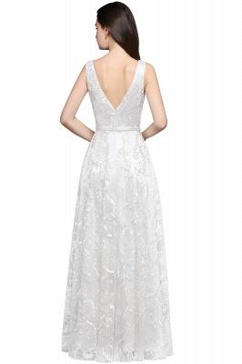 Abendkleider mit Spitze   Abiballkleider Lang Weiß_2