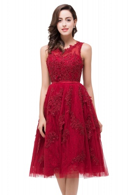 Rotes Cocktailkleider Kurz | Abendkleider mit Spitze_2