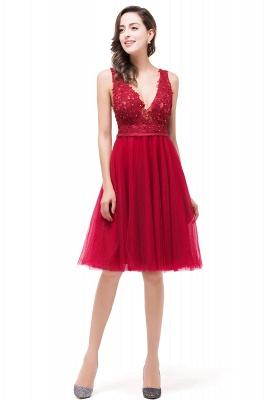 Rote Abendkleider V Ausschnitt | Cocktailkleider Kurz_6