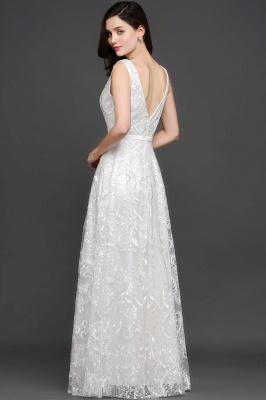 Abendkleider mit Spitze   Abiballkleider Lang Weiß_7