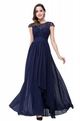 Schlichtes Abendkleid Navy Blau | Abiballkleider Lang Günstig_16