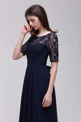 Blaue Abendkleider Lang Günstig | Abiballkleider mit Ärmel_13