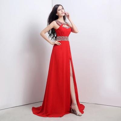 Abendkleider Lang Rot | Chiffon Kleider Abendmoden_1